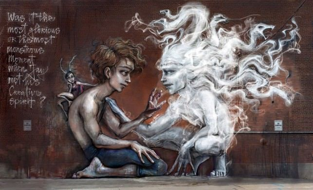 A man meets his own creative spirit in this street art painting by graffiti artists Herakut