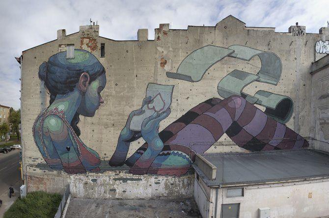 This enormous street art mural by graffiti artist aryz for Best mural artist