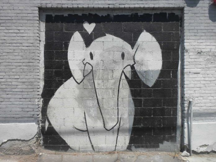 This elephant loves you. Cute and friendly street art painting by Phil Lumbang
