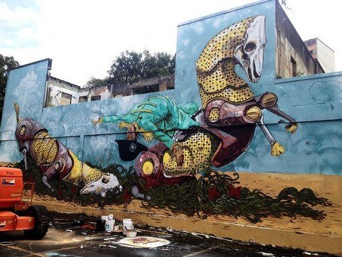 Robotic horses throw off their Imperialist controller in this statement street art work by Pixel Pancho