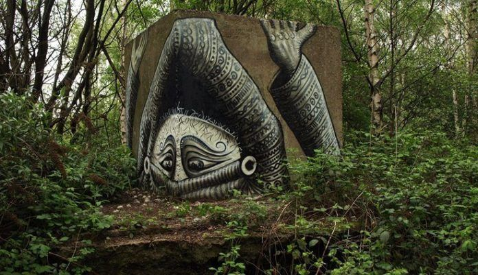 Street artist Phlegm takes this forgotten space and turns it into a canvas for his art