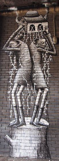 The story is in the detail of this social commentary street art work by Phlegm