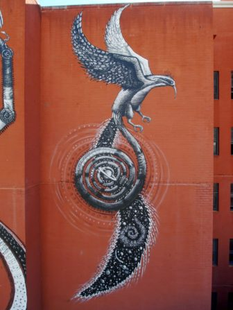 This enormous street art mural by Phlegm shows off his comic book style