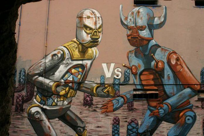 Two graffiti robots prepare to fight in this street art mural by Pixel Pancho