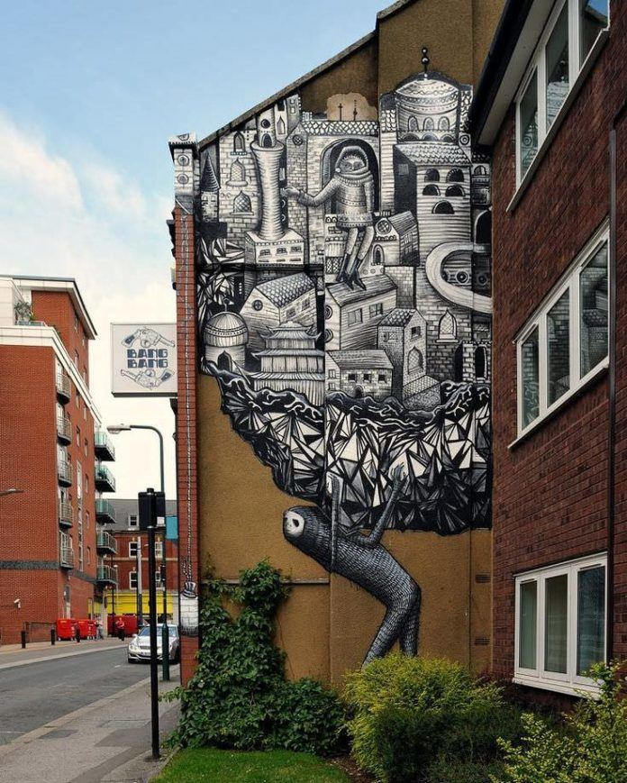 Whether a comment on the economy or an expression of emotional burdens, this powerful piece of street art by Phlegm speaks volumes
