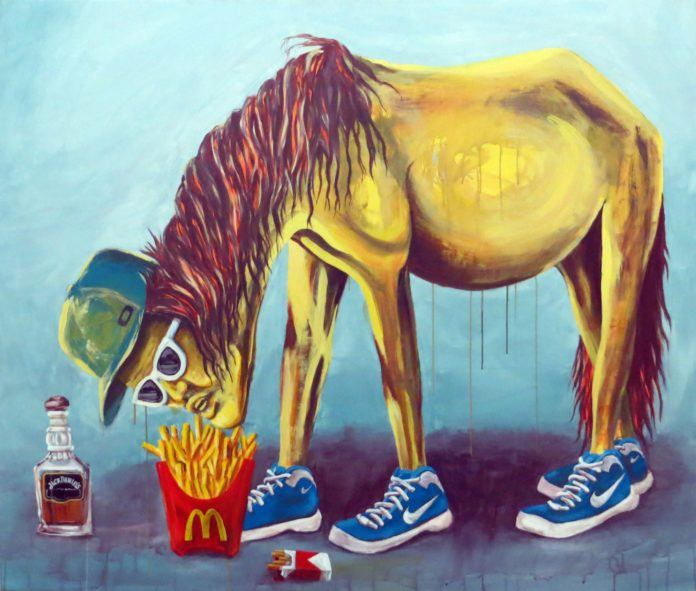 A consumerist man animal hybrid eats MacDonalds in this fine art painting by street artist Dinho Bento