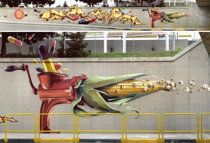 A meat grinder is in a bind between drugs and popcorn in this surrealist street art painting by Wes21