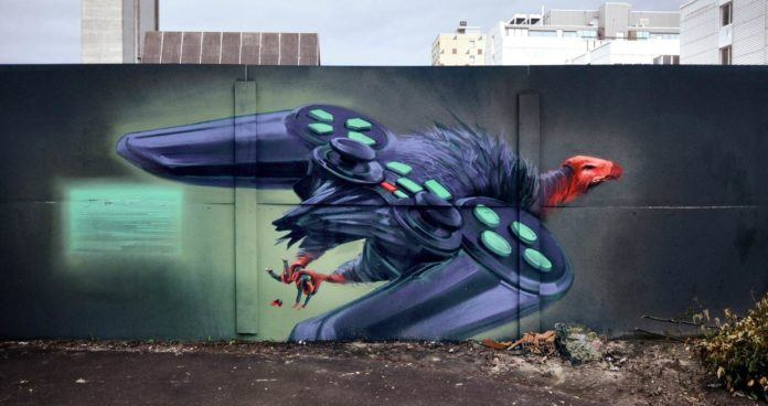 A vulture sprouts a pair of game controller wings in this science fiction street art painting by Wes 21