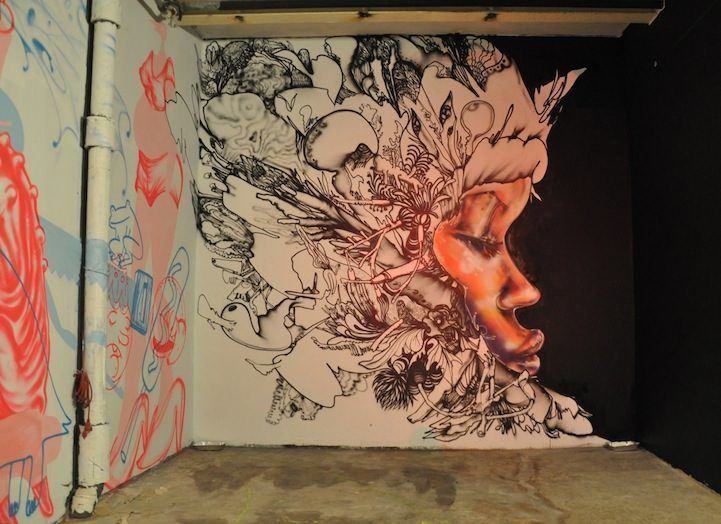 David Choe creates contrast in this mural by only using color on the woman's face