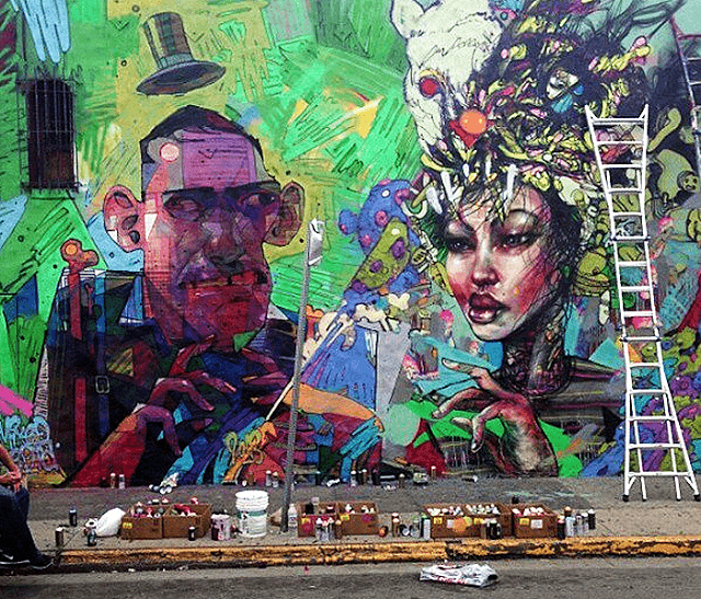 David Choe meets up with graffiti artist Aryz to create this colorful street art mural of a man and a woman