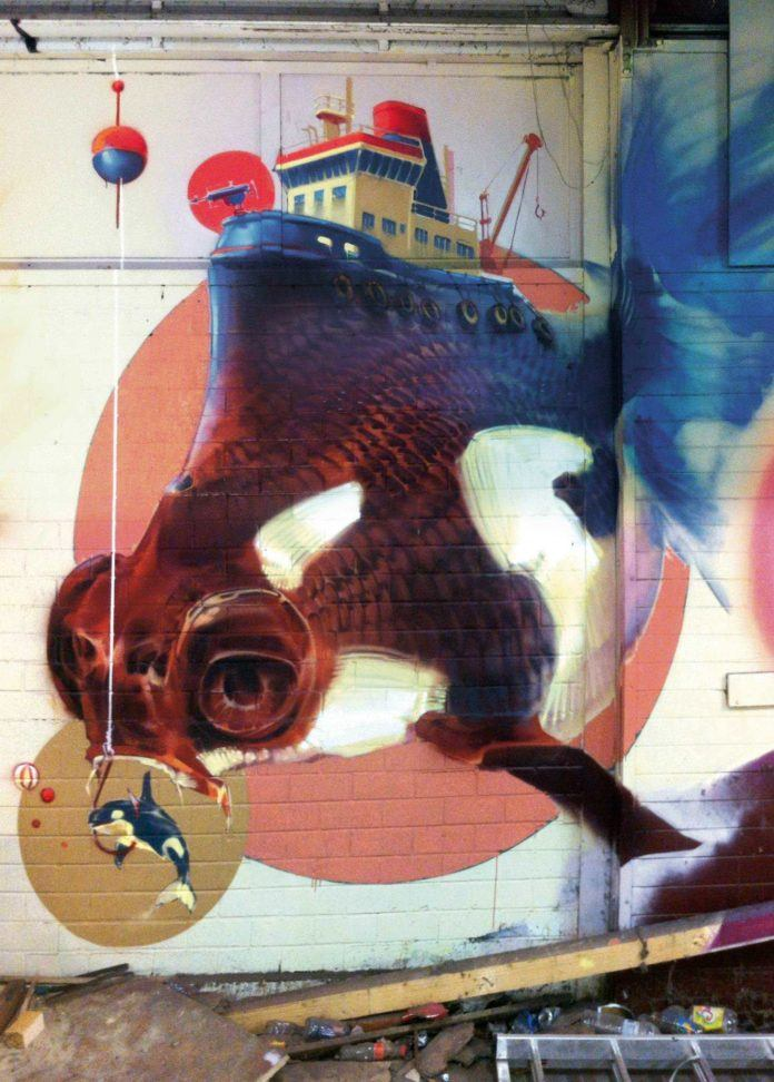 Domesticity, industry and nature merge in this surrealist street art mural by Wes21