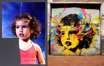 Street artist Stinkfish uses a found photograph of a little girl to create this psychedelic graffiti portrait