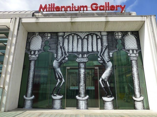 The finished mural for Millenium Gallery by street artist Phlegm