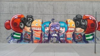 This street art mural by David Choe in the US shows how he combines surrealist ideas with a cartoon style to create a funny yet bizarre painting