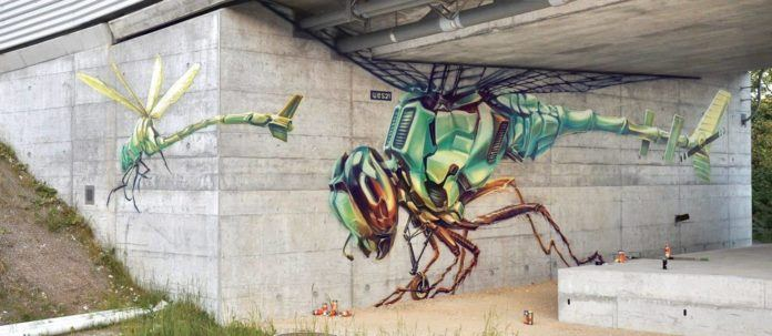 Wes21 turns dragonflies into machines in this science fiction street art mural
