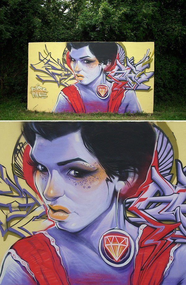 A beautiful girl with an ugly expression challenges passers by in this remote street art painting by Erase