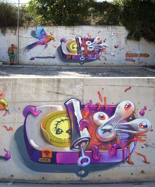 A bird eats eyeballs from a tin of tentacles and human eyes in this street art mural by Erase