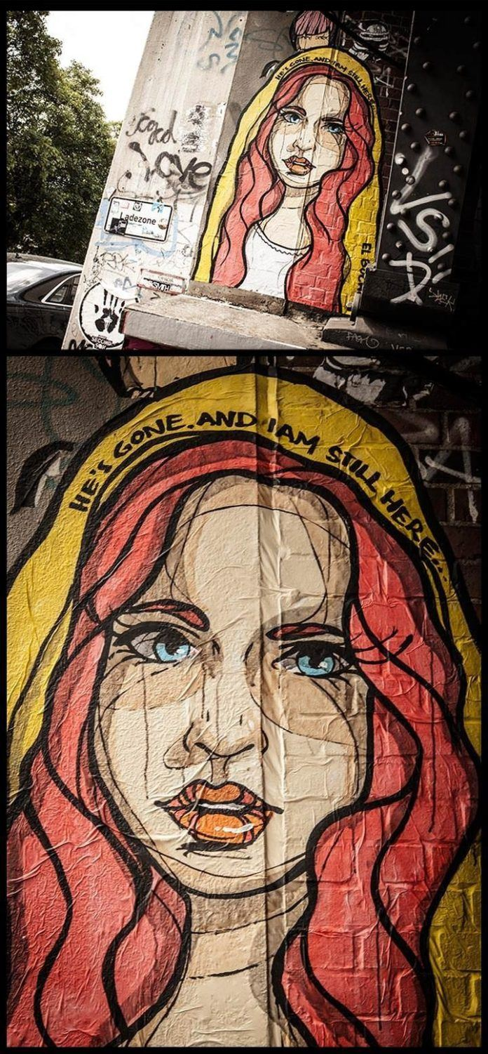 A woman's pain of loss is apparent in this touching, beautiful street art paste up by El Bocho