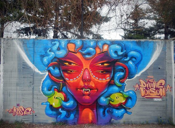 Eve as Medusa is the central figure in this colorful street art painting by Erase