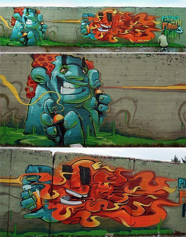 Graffiti artist Erase shows off his traditional graffiti character design skills