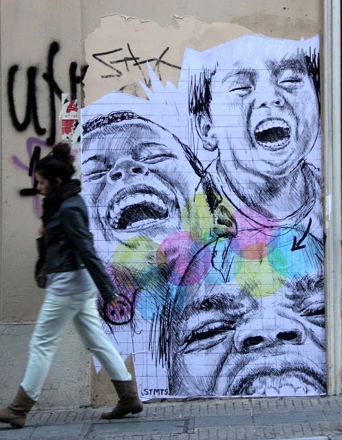 children from different cultures laugh together in this street art poster by stmts that. Black Bedroom Furniture Sets. Home Design Ideas