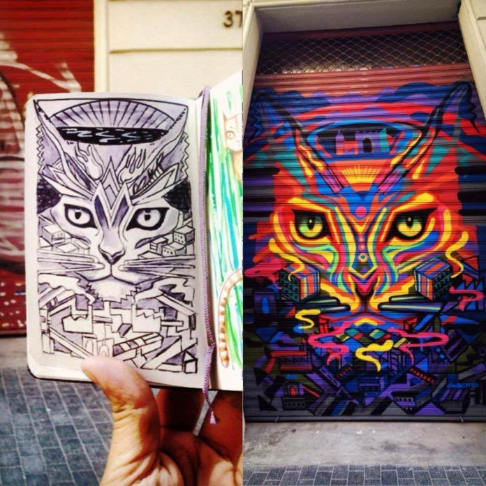 Guache shows his original sketch alongside the finished street art work of a psychedelic cat