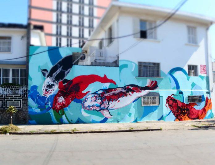 Japanese Koi fish decorate this wall in Sao Paulo thanks to Brazilian Japanese street artist Titi Freak