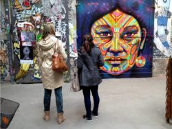 Street artist Guache leaves his mark in the center of Berlin with this colorful portrait mural