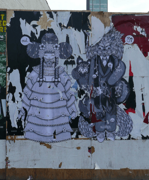 Street artist Supakitch proposes to his artistic partner and lover Koralie with this paper and paste graffiti mural