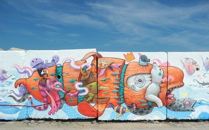 While it varies slightly from the original sketch, this surreal street art mural by Dulk still bears all the flavor and fantasy of the original design