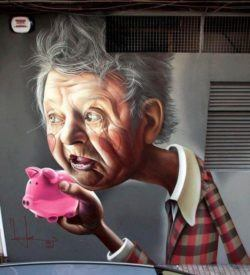 A granny holds a piggy bank in this funny but poignant street art mural by graffiti artist Belin