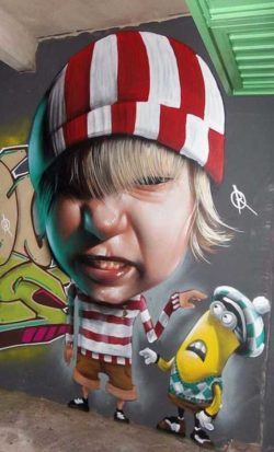 A naughty boy blames a minion from Despicable Me in this funny photo realistic graffiti mural by street artist Belin