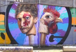 Are you a man or are you chicken? Belin's funny graffiti mural asks this question through its pop surrealism style