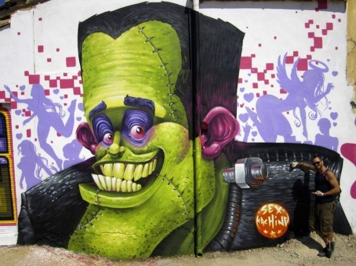Frankenstein becomes a sex machine in this funny street art mural by Duke 103