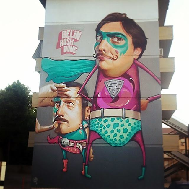 Funny superheroes wear Spanish moustaches in this pop surrealism street art mural by graffiti artist Belin