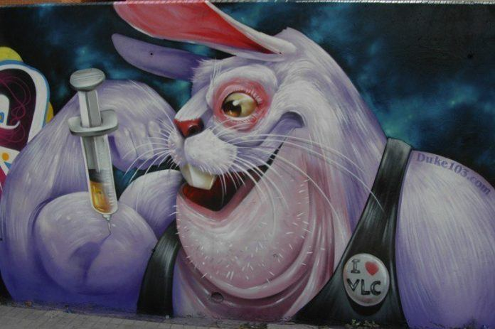 Graffiti painter Duke 103 gives a fluffy bunny a less than innocent drug habit in this street art mural