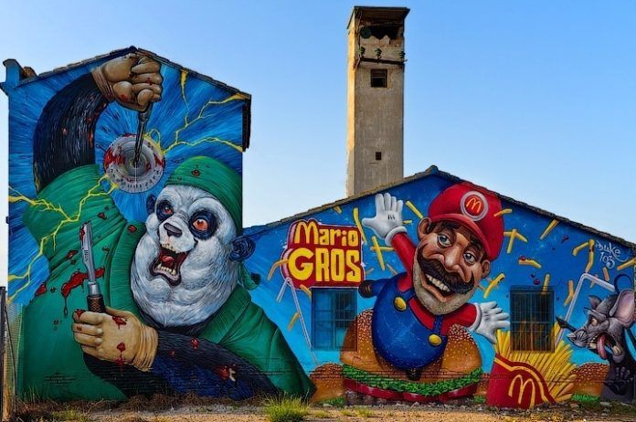 McDonalds and Mario Bros become Mario Gros in this street art mural by graffiti master Duke 103