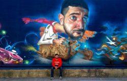 Spanish street artist Belin travels to America to create this funny surrealist graffiti mural