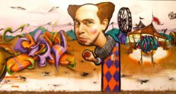 Street artist Belin's Naughty naughty circus clown will give the creeps or the giggles in this creative pop surrealism graffiti mural