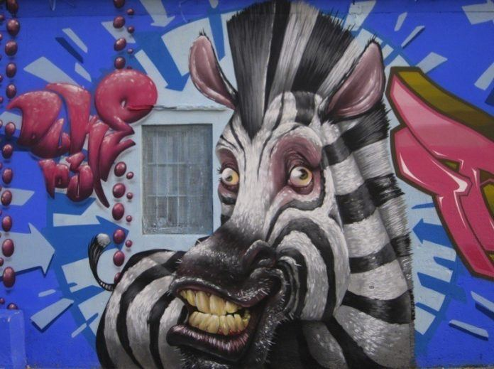 Street artist Duke 103 creates a funny parody of Marty the Zebra from the animated film Madagascar