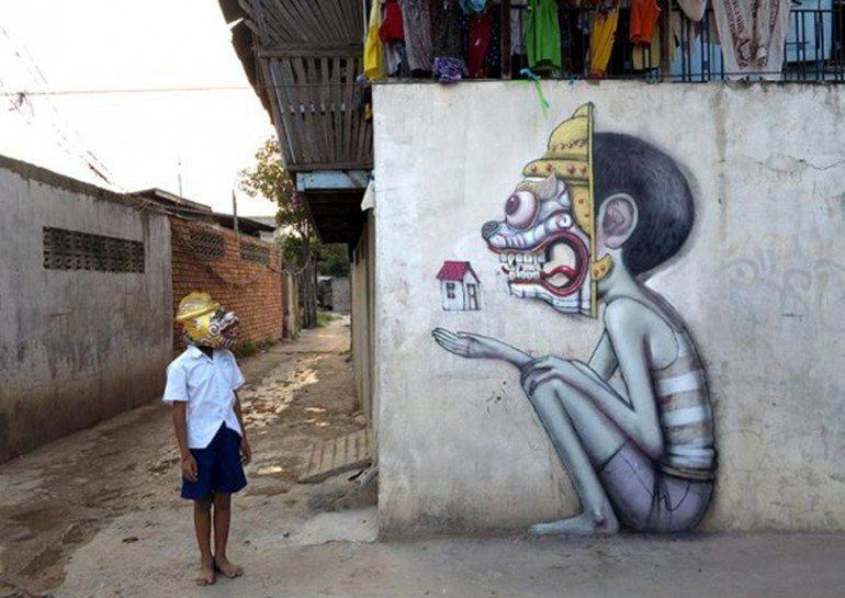 This street art mural in cambodia is based on the little for 3d street painting mural art