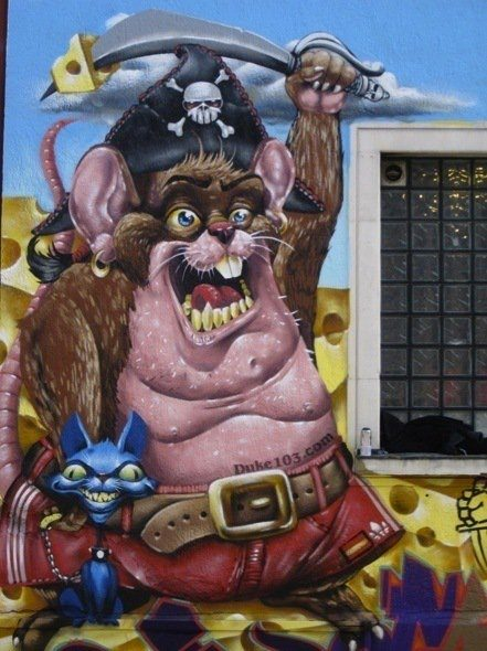 This wall will never be the same again thanks to graffiti artist Duke 103s pirate rat and his evil cat