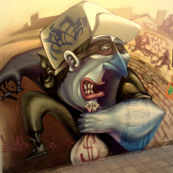 Graffiti muralist Lelin Alves uses his abstract style to paint a cartoonish street art work that addresses the criminal personality of a thief
