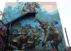 Three elephants encourage a fourth to fly in this massive street art mural by Wild Drawing in Greece