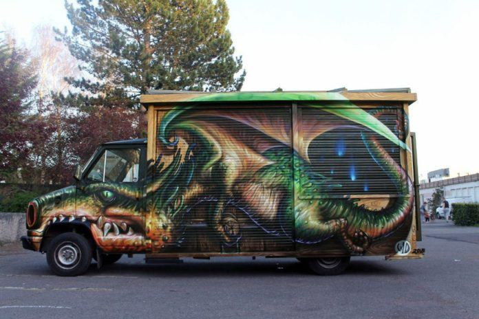 Wild Drawing shows off his sense of humor with this funny graffiti mural of a dragon on a truck in France