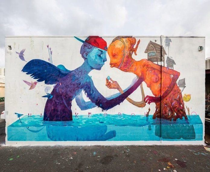 A winged blue figure forgives a red character in this beautiful street art mural by Ekundayo