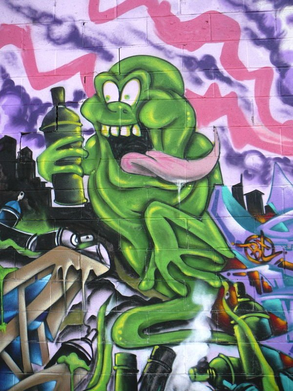 Deem is another graffiti artist who has chosen to depict SLimer the ghost with a spray can