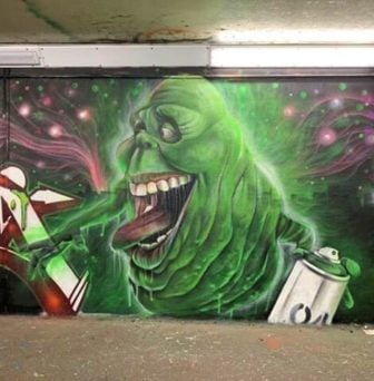 Graffiti muralist Gnasher says he got slimed by Slimer the ghost from beyond the grave