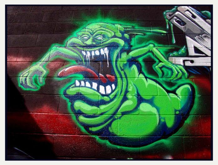 Someone better feed this hungry Slimer graffiti art before he gets too mad!