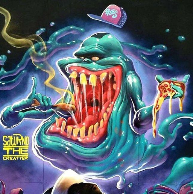 Saturno the Creatter has made Slimer super slimey in this colorful graffiti mural.